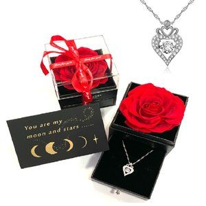 RED Preserved Real Rose W/ Silver Heart Necklace